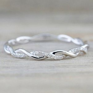 NEW 925 STERLING SILVER TWISTED ETERNITY BAND RING